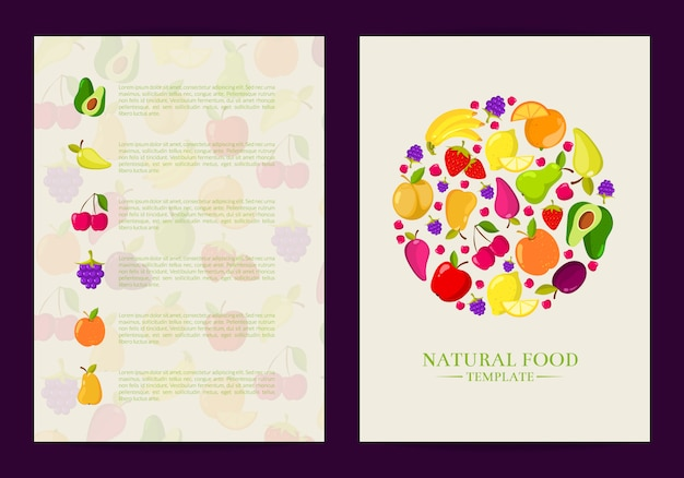 Vector handdrawn fruits and vegetables card, brochure, flyer template. poster and banner illustration Premium Vector