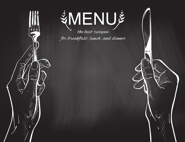 Vector hands holding a knife and fork Premium Vector