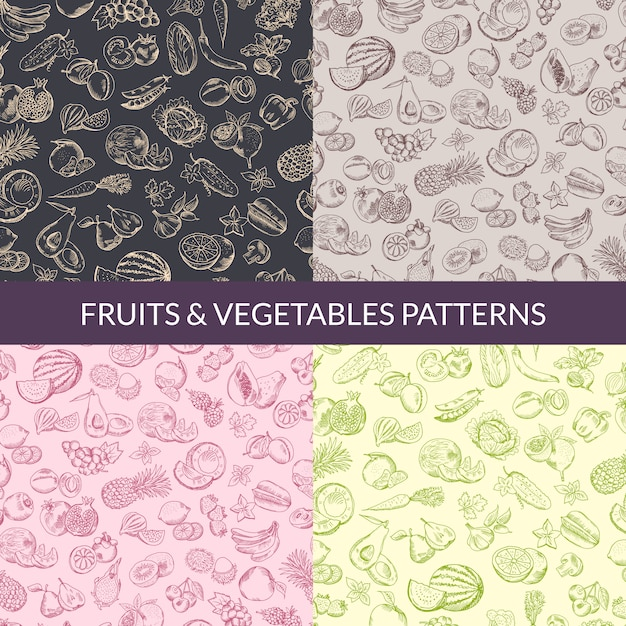 Vector handsketched fruits and vegetables vegan, healthy food, organic patterns set. illustration collection background Premium Vector