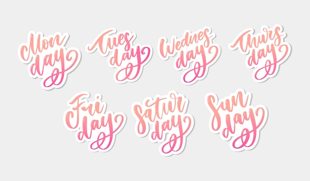 Vector handwritten week days and symbols set. ink font. stickers for planner and other. clipart. isolated. Premium Vector