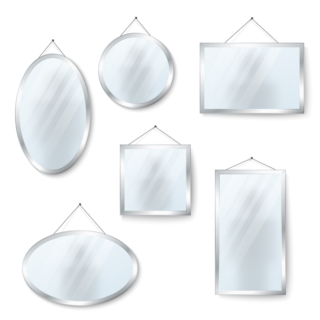 Vector hanging mirrors isolated on white Premium Vector