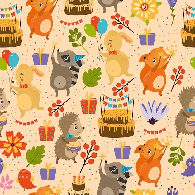 Vector happy birthday pattern, hedgehog,\ rabbit, fox, raccoon