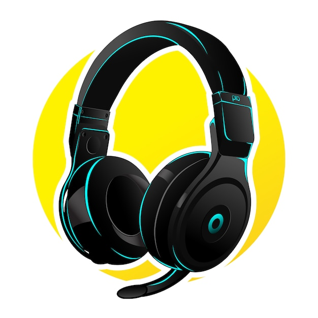Vector headphone for gaming with  cyan led Premium Vector