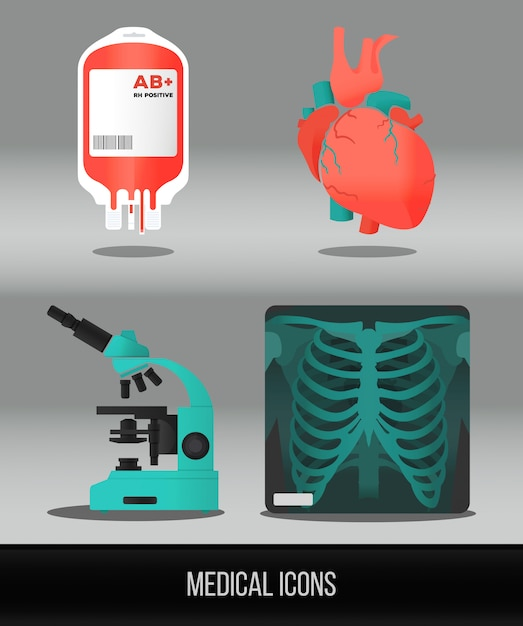 Vector health care and medical icon set in flat style. Premium Vector