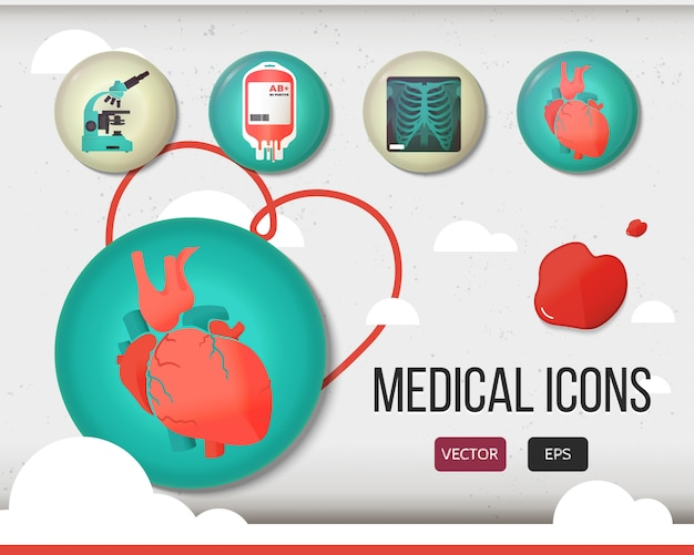 Vector health care and medical icon set. Premium Vector