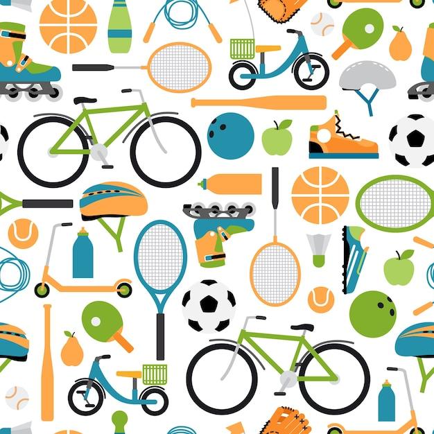 벡터 건강 스포츠 패턴 배경입니다. 원활한 패턴, 롤러 및 헬멧, 공 및 셔틀콕, 볼링, 테니스 및 야구 무료 벡터