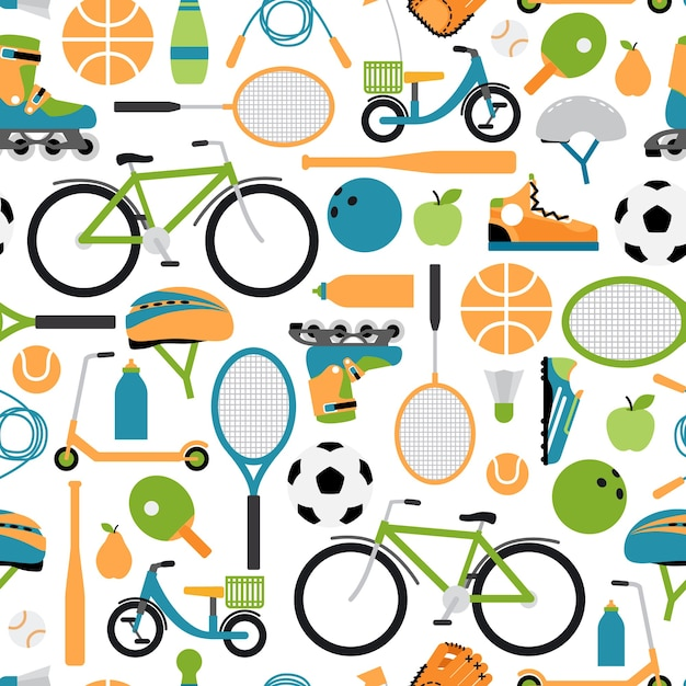 Vector healthy sport pattern background. seamless pattern, rollers and helmet, ball and shuttlecocks, bowling and tennis and baseball Free Vector