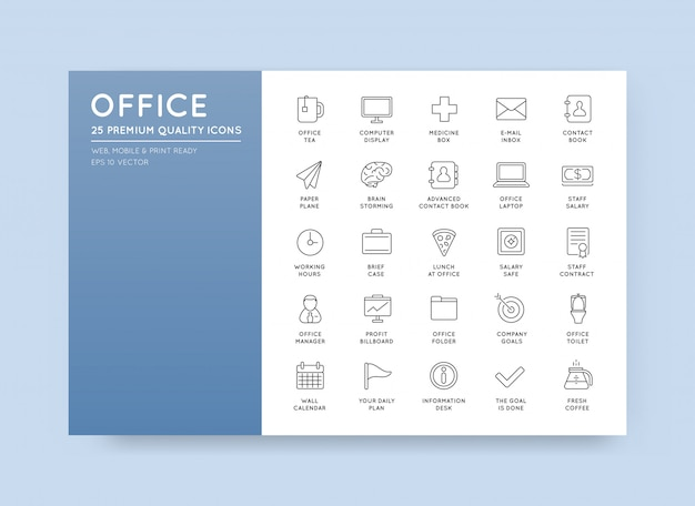 Vector high qulaity office outline icons set Premium Vector