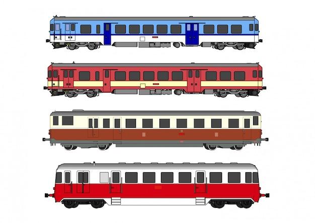 Vector high-speed train and steam train Premium Vector