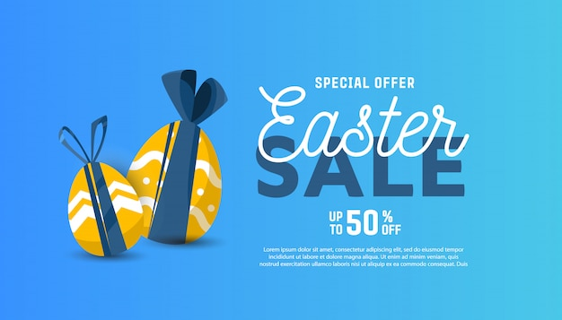 Vector horizontal template for sale banner for happy easter Premium Vector
