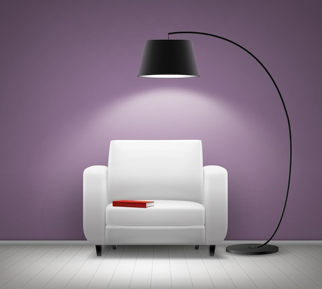 Vector house interior with white armchair, black floor lamp, red book and violet wall front view Free Vector
