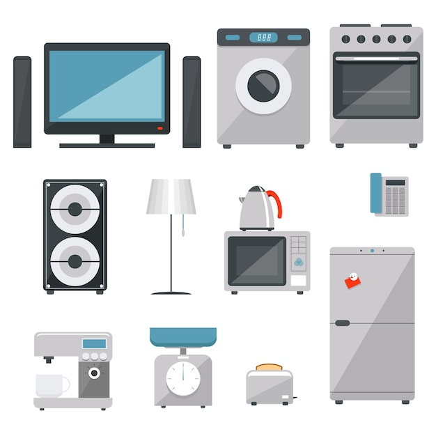Vector household appliances icons set Free Vector