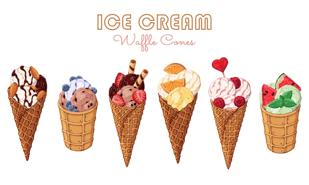Vector ice cream decorated with berries, chocolate or nuts. Premium Vector