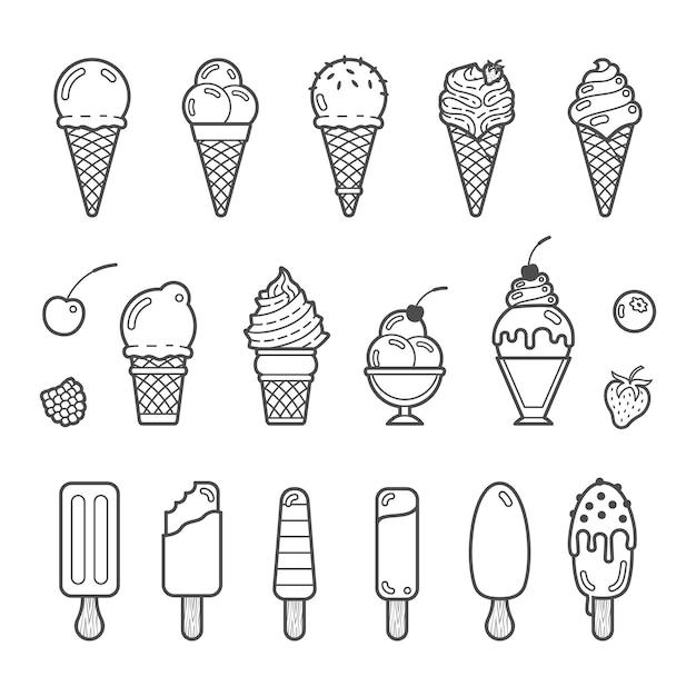 Векторный икона set вкусного мороженого Premium векторы