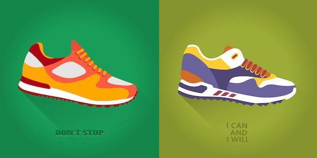 Vector icon set of training shoes. Premium Vector