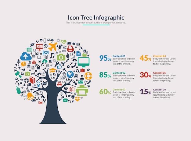 Vector icon tree infographic Premium Vector
