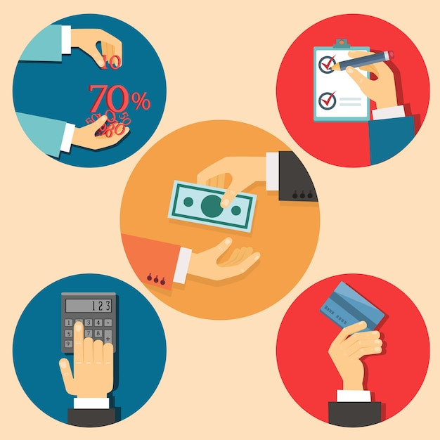Vector icons in flat retro style finance and business illustration Free Vector