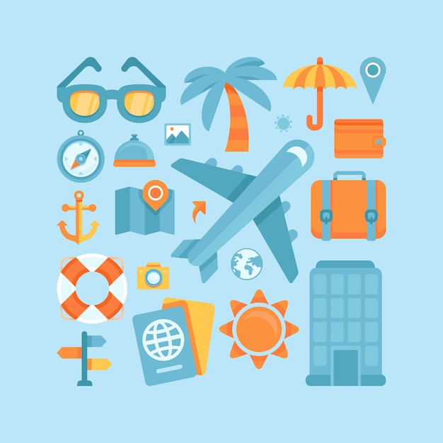 Vector icons in flat style - travel and vacation Premium Vector