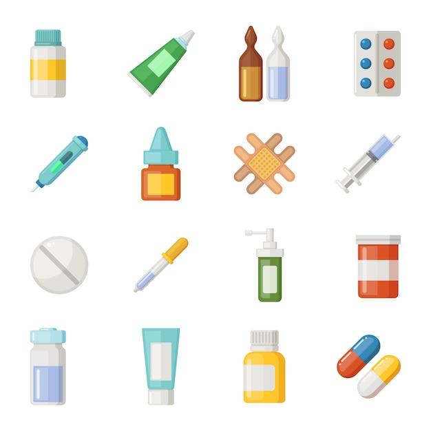 Vector icons set of medications Premium Vector