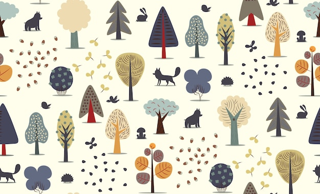 The vector illustrated seamless pattern Premium Vector