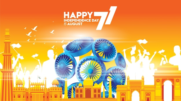 Vector illustration 15th august happy independence day Premium Vector