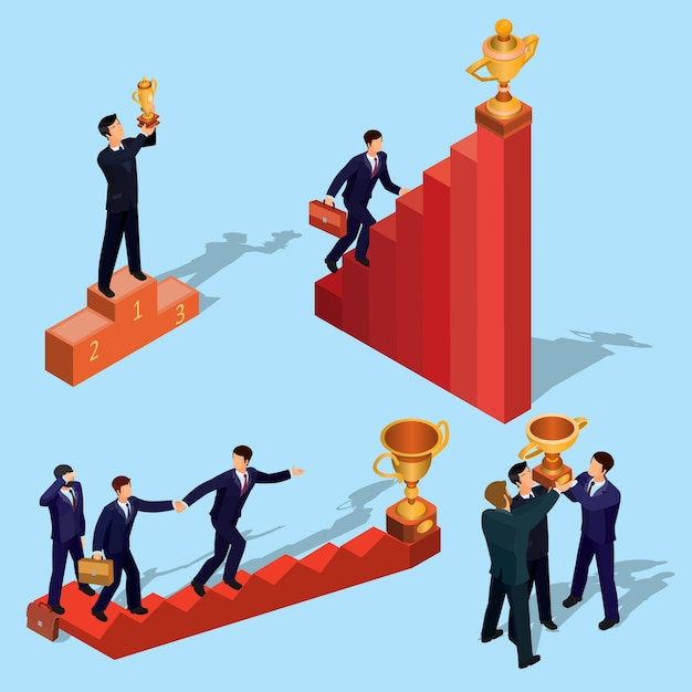 Vector illustration of 3d flat isometric people. concept of business growth, career ladder, the path to success. Free Vector