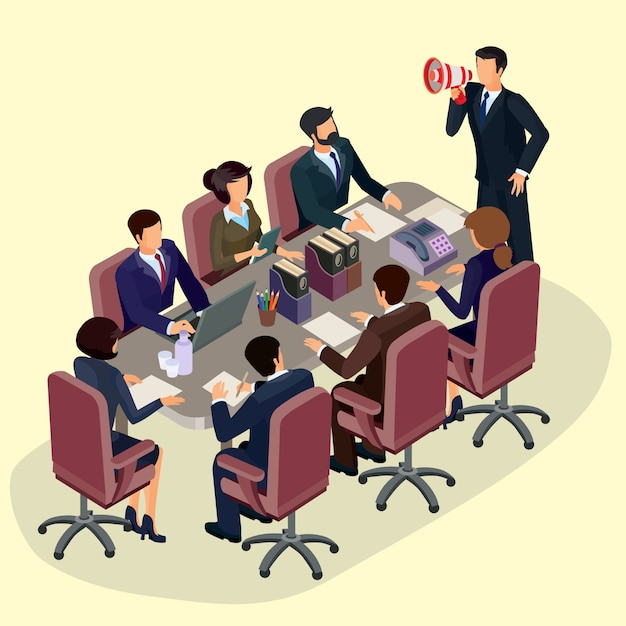 Free Vector | Vector illustration of 3d flat isometric people. the concept of a business leader, lead manager, ceo.