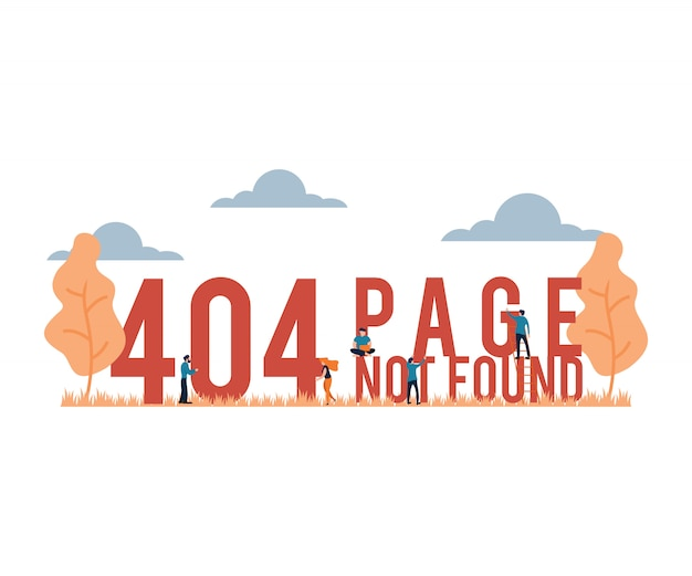 Vector illustration 404 page not found flat cartoon style Premium Vector