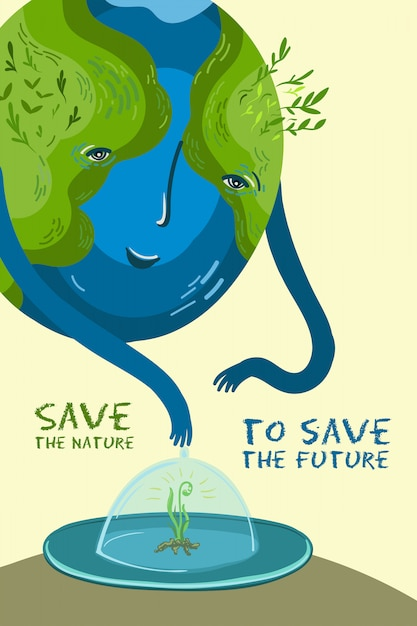 Vector illustration about the conservation of trees and plants on planet earth. Premium Vector