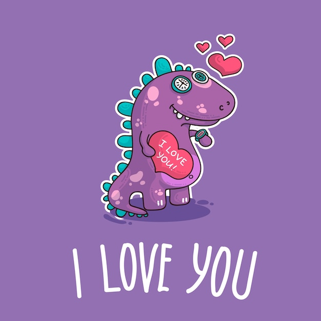 Vector illustration about dinozaur in love Premium Vector