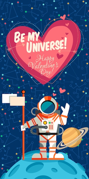 Vector illustration about outer space for valentines day. Premium Vector