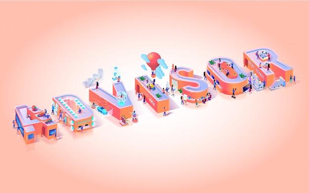 Vector illustration advissor on pink background. Premium Vector