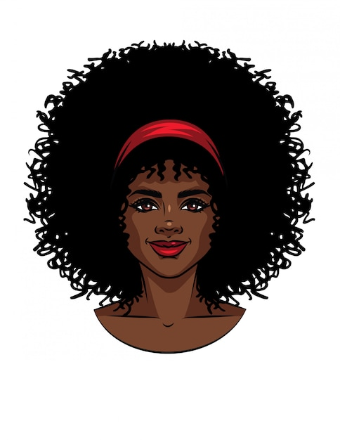 Vector illustration of african american type woman's face with curly hair. beautiful girl portrait with smile Premium Vector