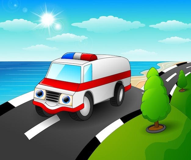 Vector illustration of ambulance car cartoon in the seaside road Premium Vector