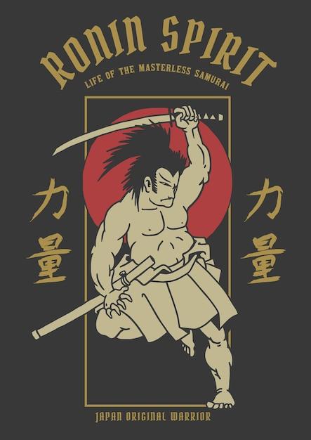 Vector illustration of ancient samurai warrior with japanese word means strength Premium Vector