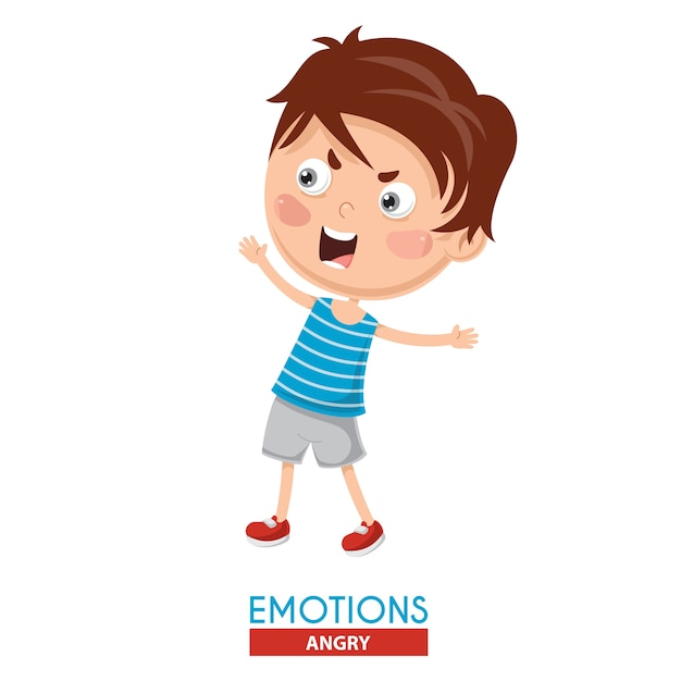 Vector illustration of angry kid emotion Premium Vector