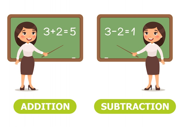 Vector illustration antonyms and opposites Premium Vector