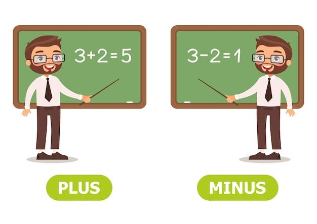 Vector illustration antonyms and opposites Premium Vector
