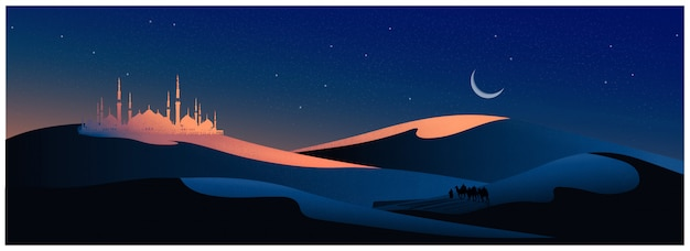 Vector illustration of the arabian journey with camels through the desert with mosque, Premium Vector