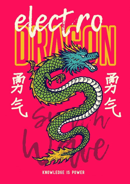 Vector illustration of asia dragon snake in the 80s style retro graphic. the japanese kanji words means courage. Premium Vector