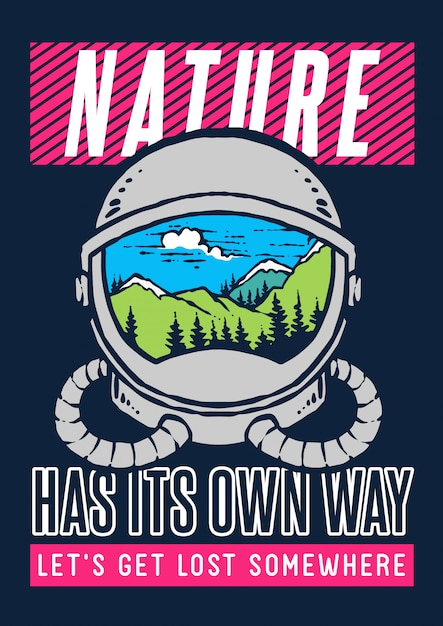 Vector illustration of astronaut helmet with nature and landscape mountain inside it Premium Vector