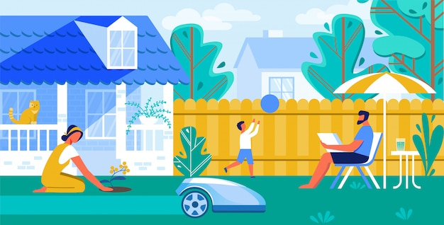 Vector illustration automated lawn mower cartoon. Premium Vector