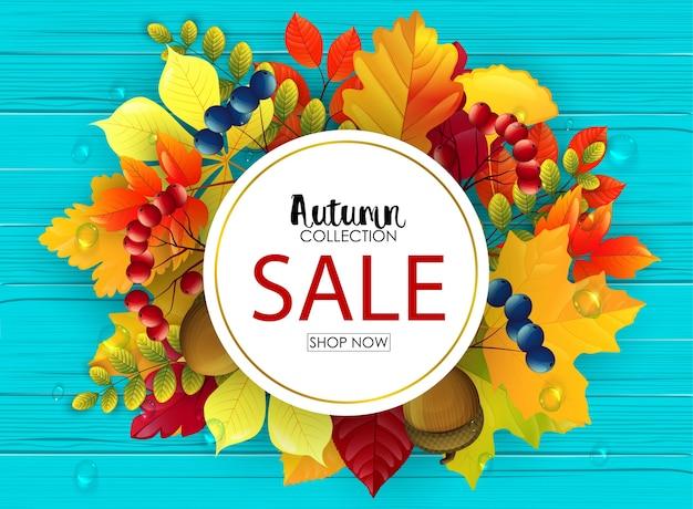 Vector illustration of autumn sale banner Premium Vector