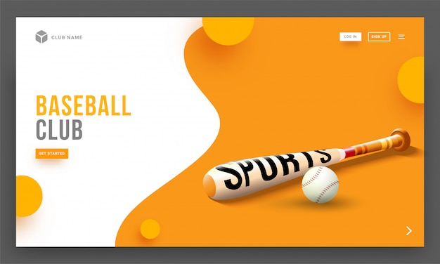 Vector illustration of baseball bat and ball on abstract backgro Premium Vector