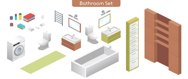 Vector illustration of bathroom modern interior furniture set. plumbing for in bathing room. isometric view of bath, washing machine, toilet bowl, mirrors, shelves, towels, home decor isolated objects Premium Vector