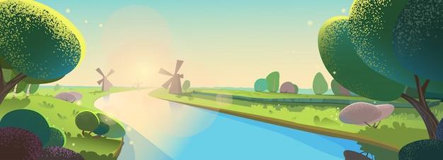 Vector illustration beautiful landscape. sunny morning, dawn on river, mills, evening. Premium Vector