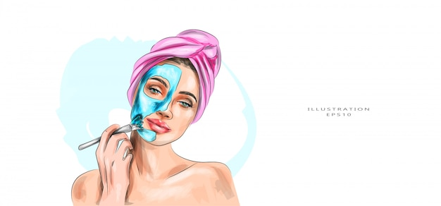 Vector illustration. a beautiful woman takes care of herself. Premium Vector