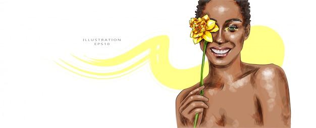 Векторная иллюстрация красивейшая женщина состава Premium векторы