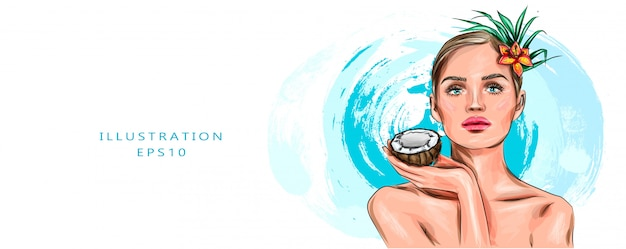 Vector illustration beauty woman with coconut portrait. spa model girl holding a coconut. pretty young brunette female face. skin care. young people. treatment. beautiful fashion girl face model. Premium Vector