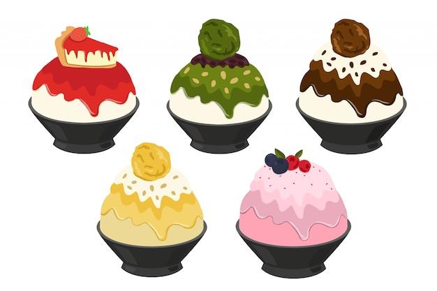 Vector illustration of bingsu,most popular dessert korean and thailand Premium Vector